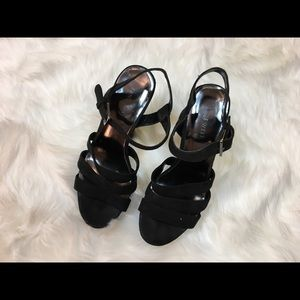Nine West black sparkle block heel sandals, 7